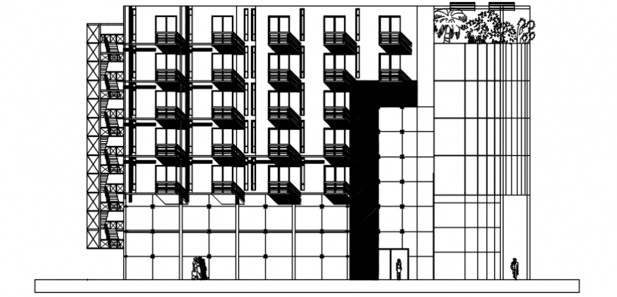 Autocad drawing of hotel facade elevation