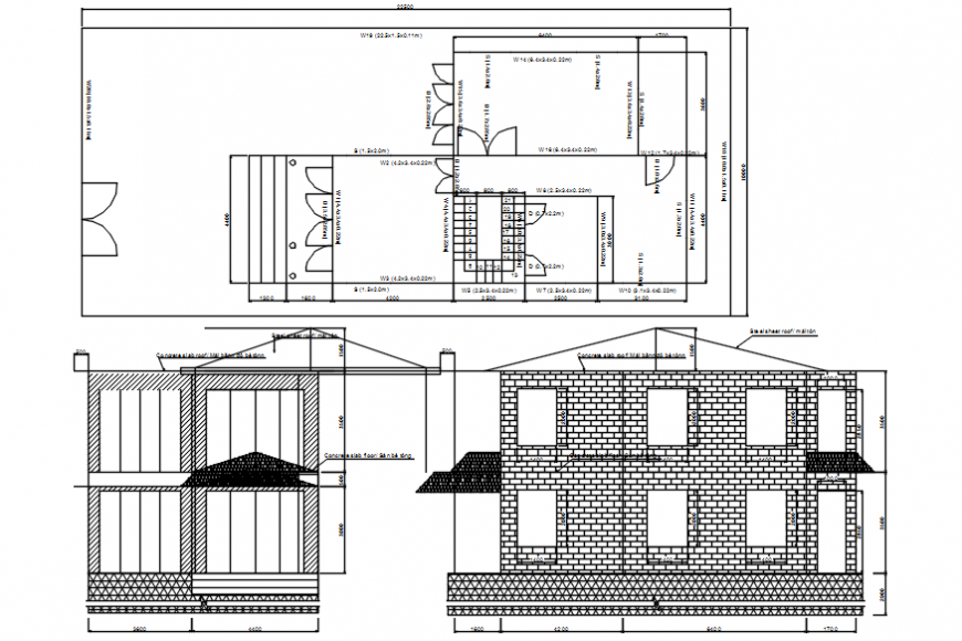 Autocad drawing of house floor plan, elevation