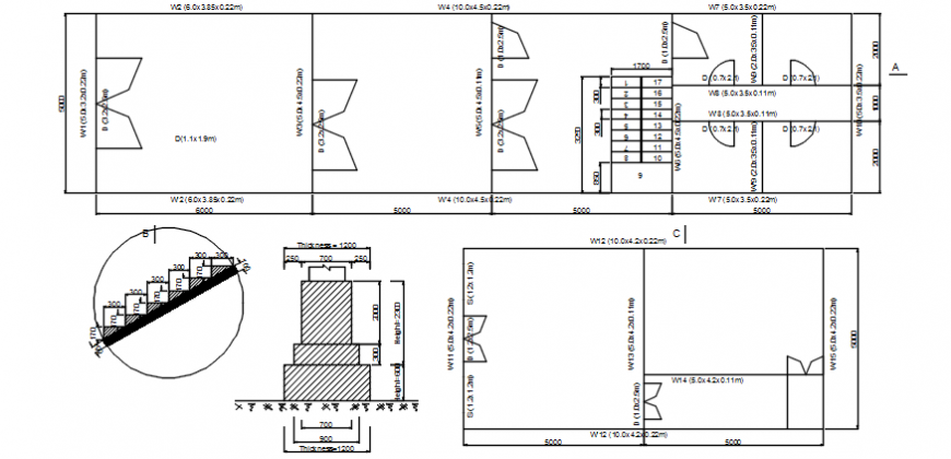 Autocad drawing of house floor plan, stair detail and foundation detail