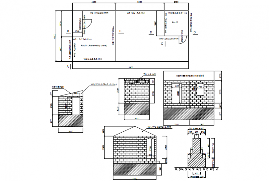 Autocad drawing of house plan, sections and foundation details