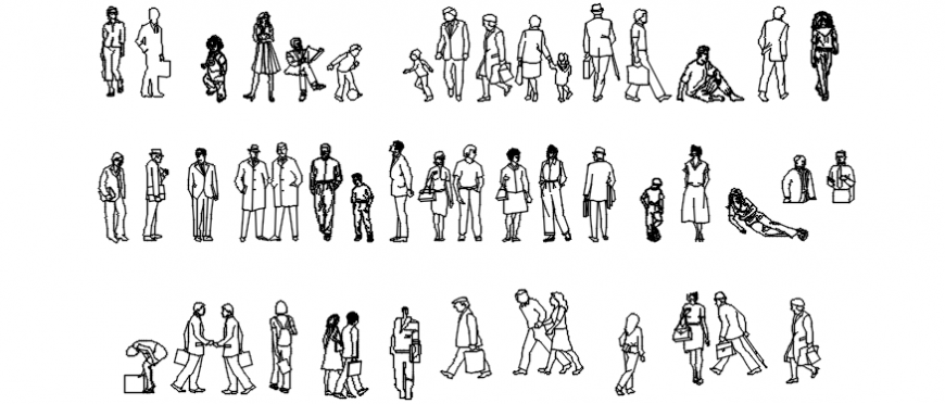 Autocad drawing of human figures