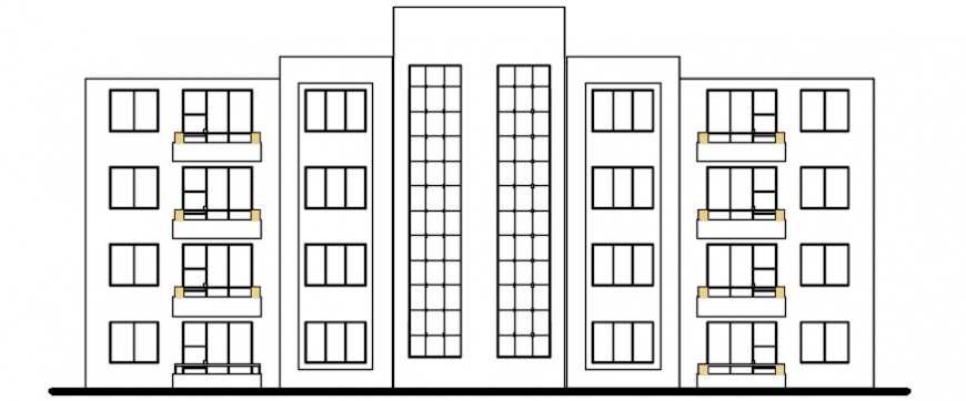 Autocad drawing of multi-family house front elevation