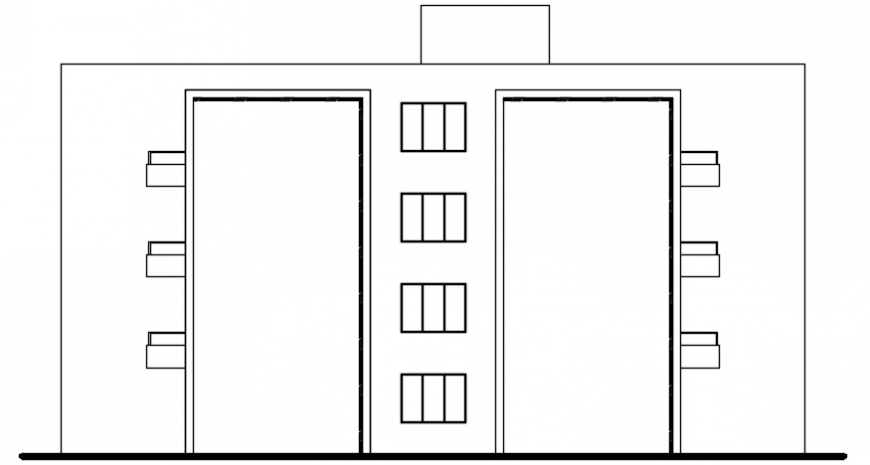 Autocad drawing of multi-family house lateral elevation