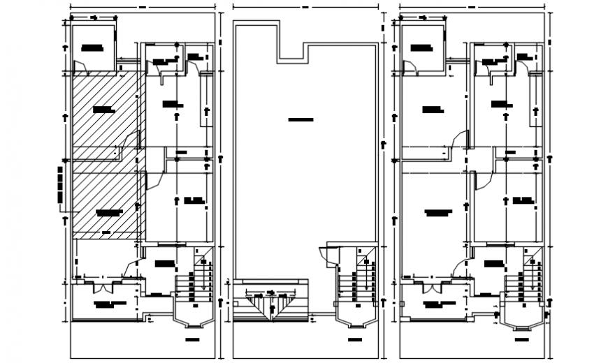 Autocad drawing of multi-floor house floor plans