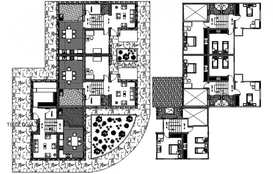 Autocad drawing of multi-floor urban house floor plans