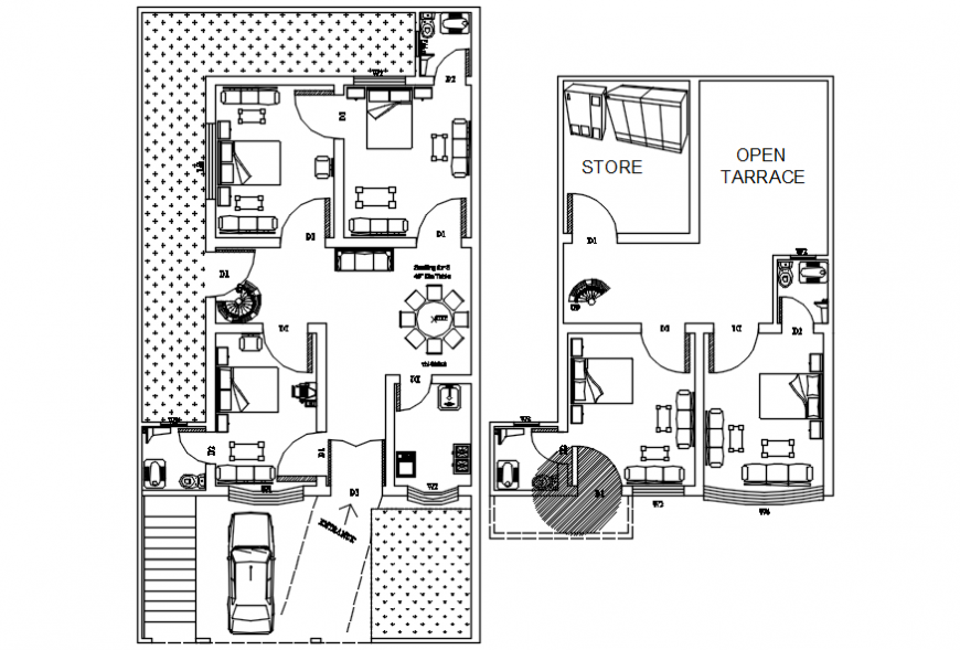 Autocad drawing of residential site plan with ground and first floor plan
