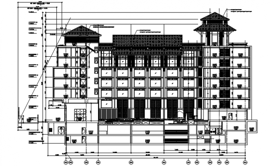 Autocad drawing of sectional elevation of an hotel