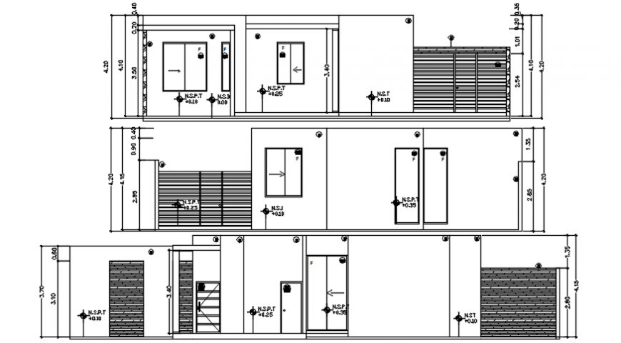 Autocad drawing of site elevations of a residential house