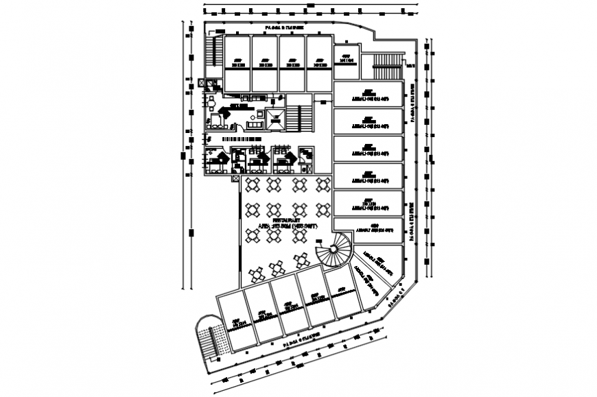 Autocad drawing of Thirur hotel first floor plan