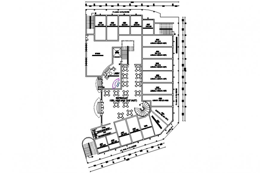 Autocad drawing of Thirur hotel ground floor plan