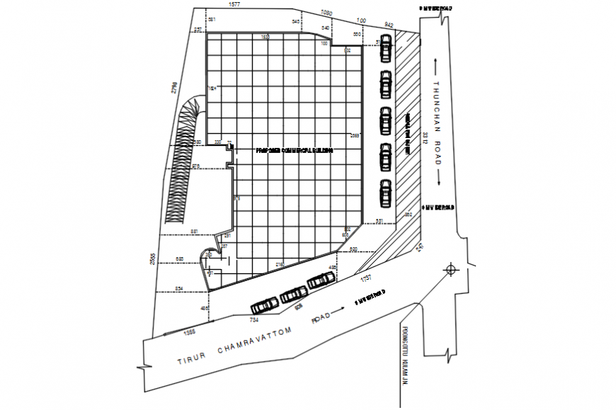 Autocad drawing of Thirur hotel site plan