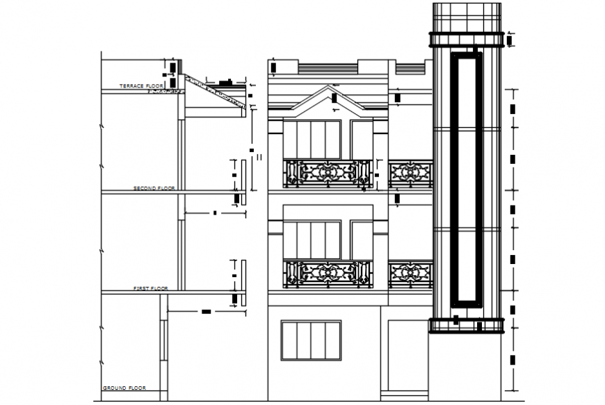 Autocad drawing of wall section and front elevation of a house