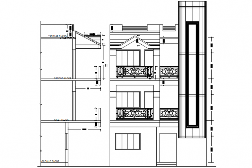 Autocad drawing of wall section and front elevation of a multi-floor house