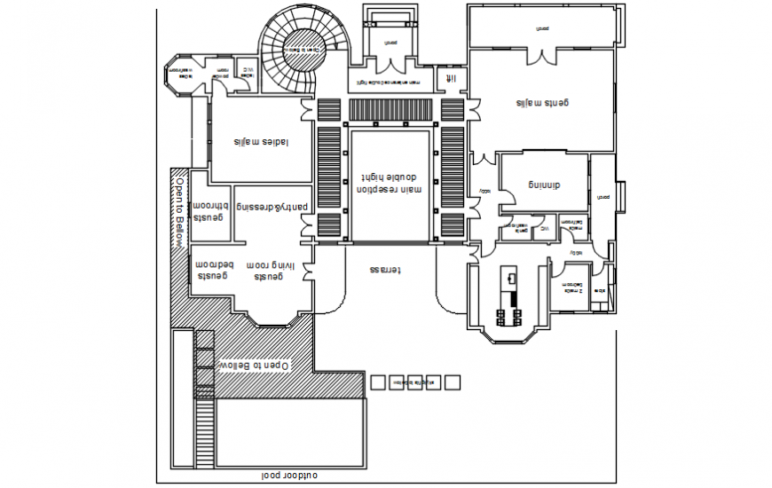 Autocad drawings of house 2d view layout plan