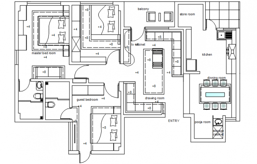 AutoCad dwg of ceiling plan of a residential building