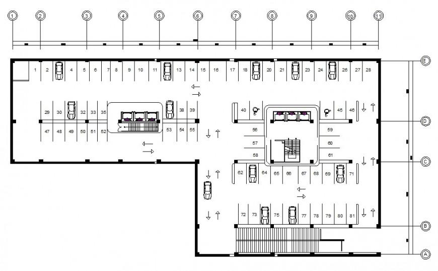 AutoCAD file of Basement plan for hotel design