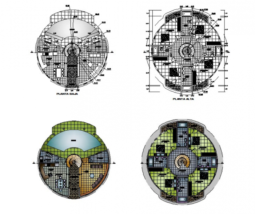 Autocad file of circular house plan 2d details