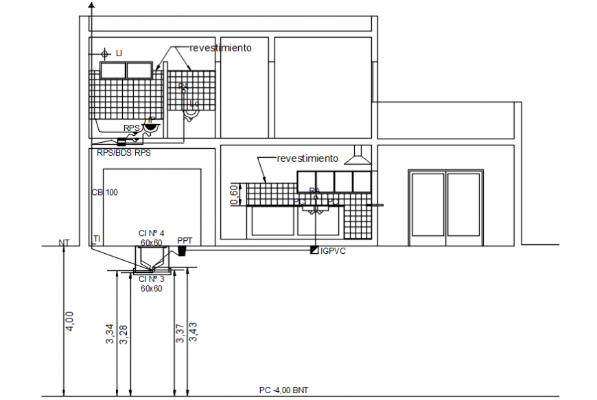 Autocad file of housing project section of a house showing plumbing layout