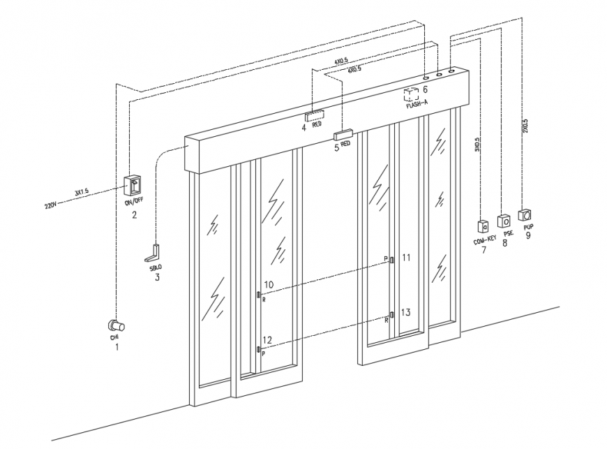 Automatic sliding door joints and installation cad drawing details dwg file