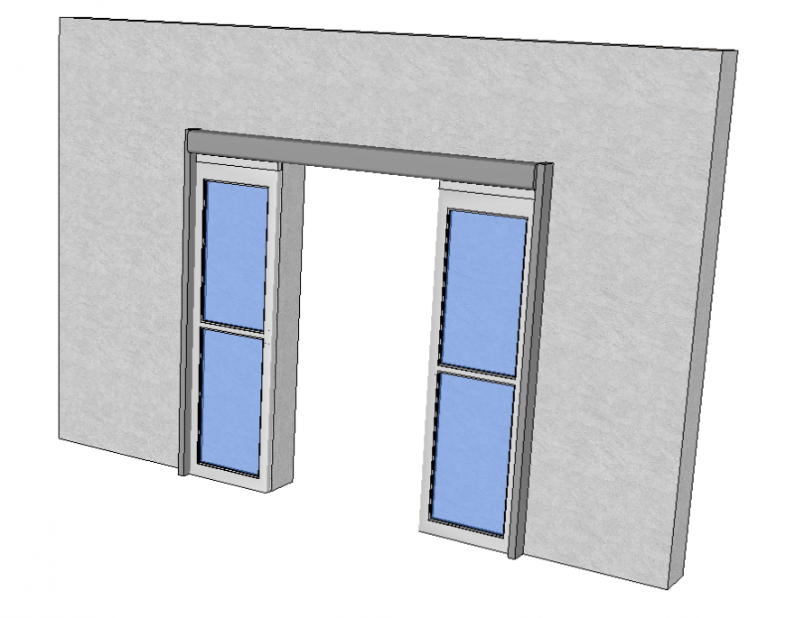 Automatic sliding doors 3d model Sketch-up file