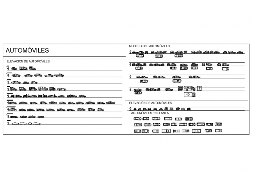 Automobile vehicles cars multiple blocks cad drawing details dwg file