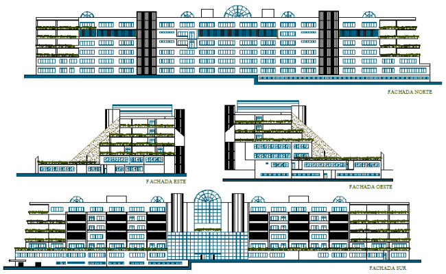 Elevation drawing of Highrise building