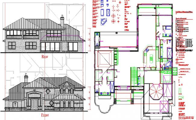 Double story house plan in autocad