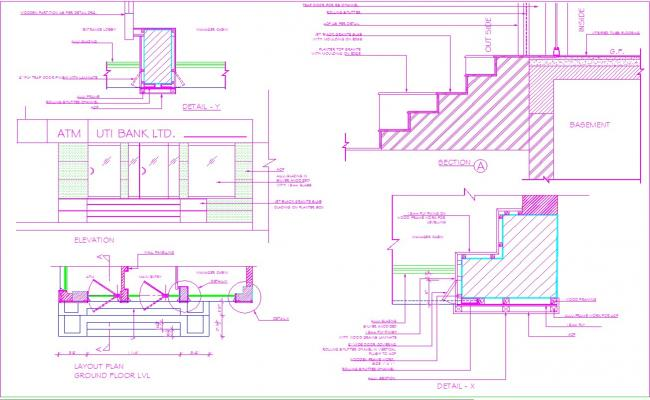 Shutter covering interiors detail in autocad dwg files