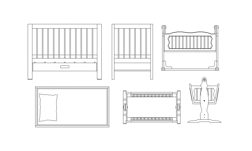 Baby cradle plan and elevation of different block design with furniture view dwg file