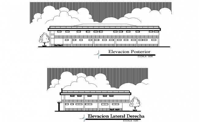 back elevation and right elevation detail dwg file