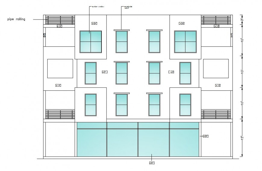 Back elevation drawing details of apartment flats building dwg file