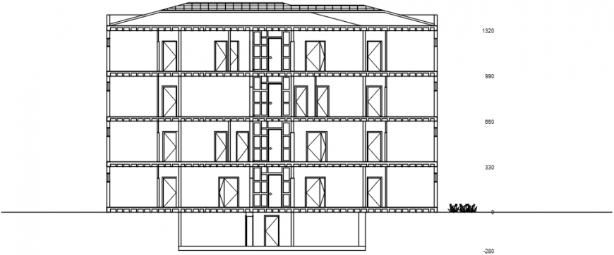 Back elevation drawing details of apartment residential building dwg file