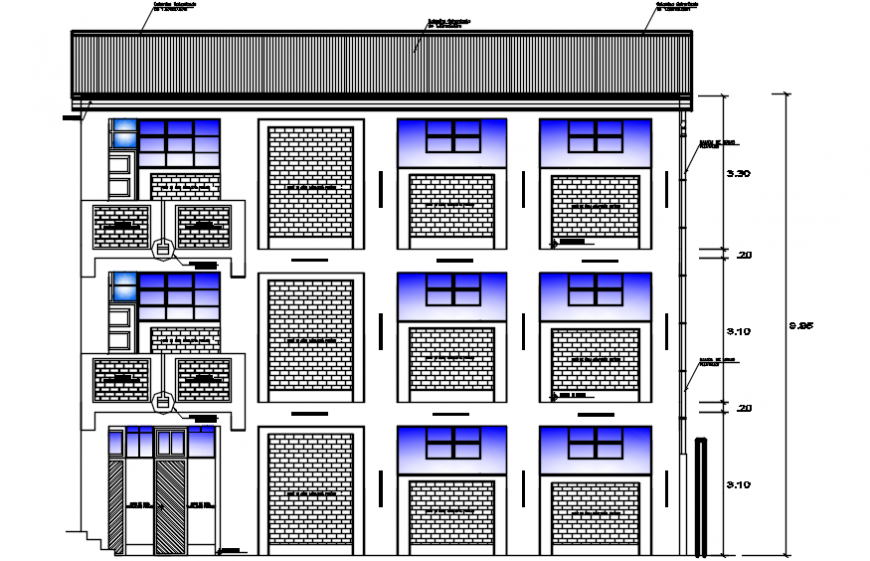 Back elevation drawing details of primary school dwg file