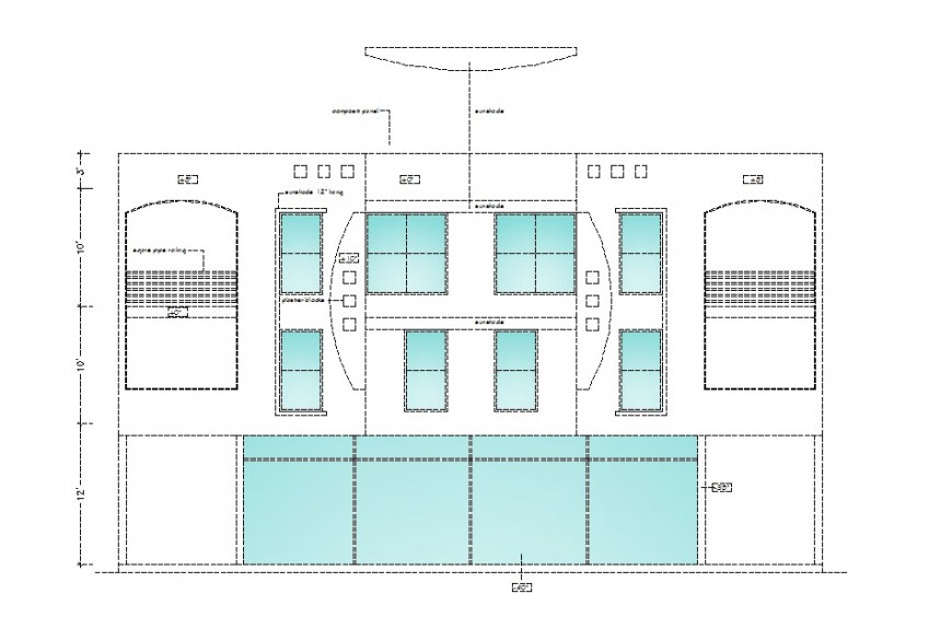 Back elevation drawing details of residential one family house building dwg file