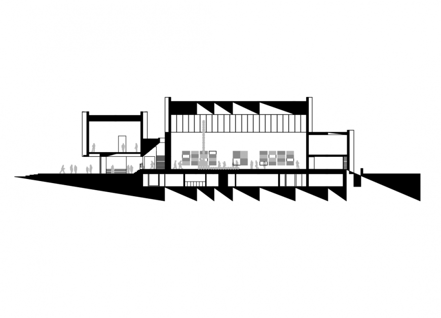 Back sectional details of municipal auditorium hall dwg file