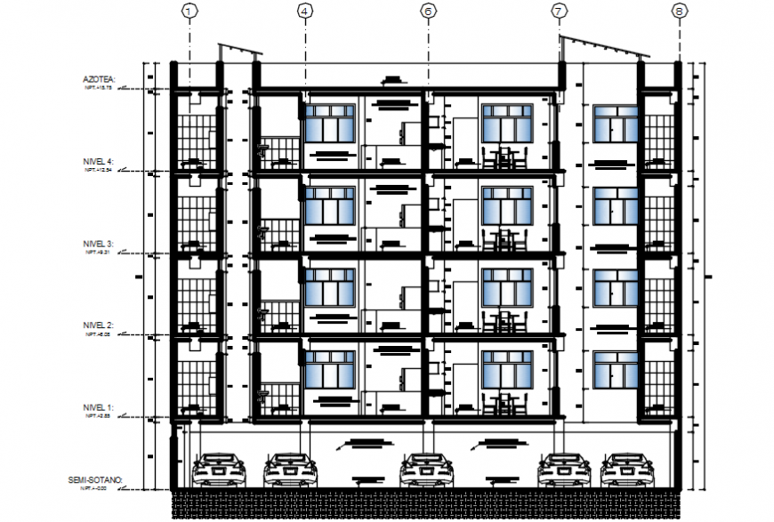 Back sectional drawing details of four story apartment building dwg file