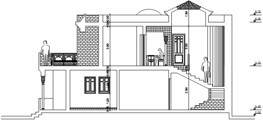 Back sectional drawing details of luxuries villa dwg file
