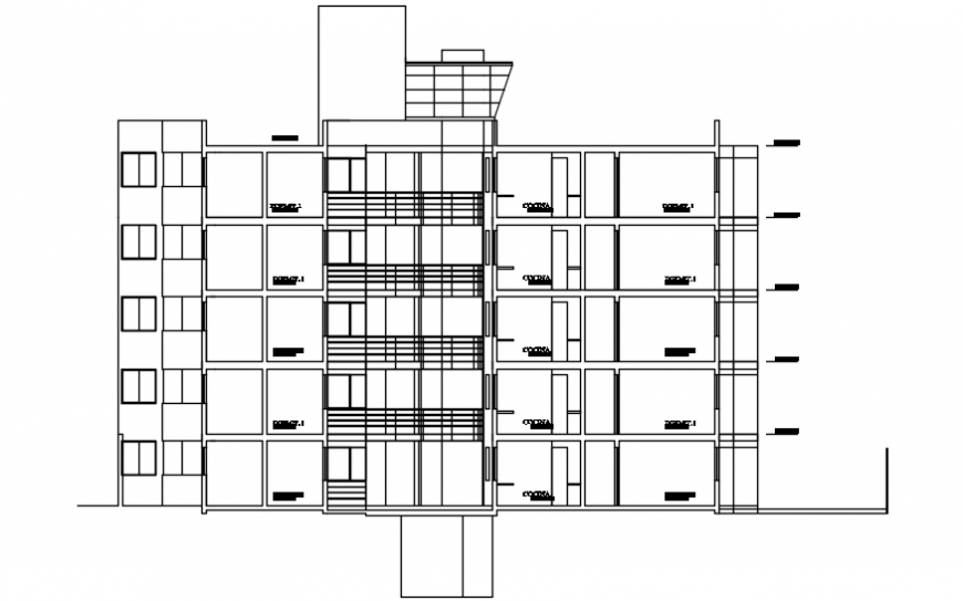 Back sectional drawing details of multi-family residential building dwg file