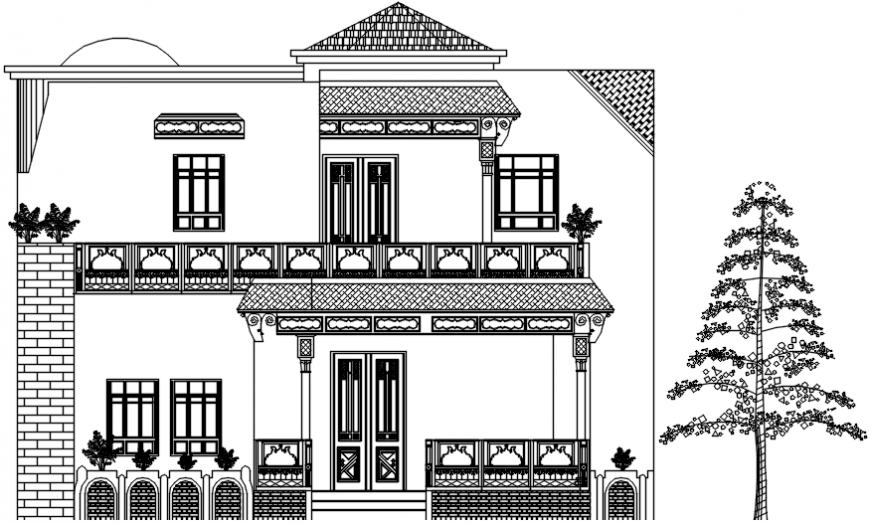 Back side elevation drawing details of luxuries villa dwg file