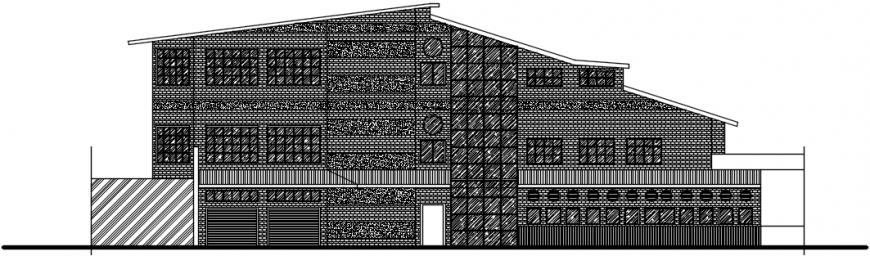 Back Side elevation drawing details of theme restaurant dwg file