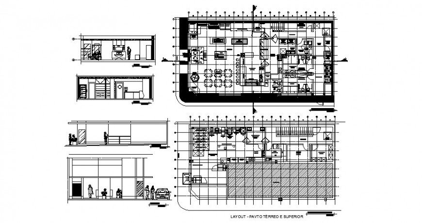 Bakery shop elevation, section and plan cad drawing details dwg file
