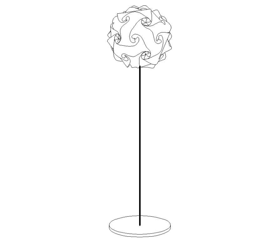 Ball shape design of decorative tree with interior look dwg file
