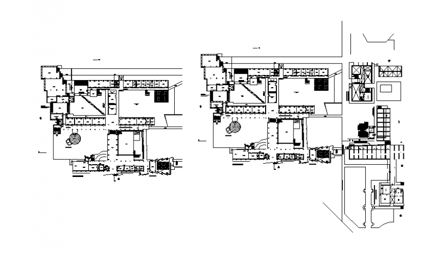 Banismandartunilima college institute multi-level floor plan details dwg file