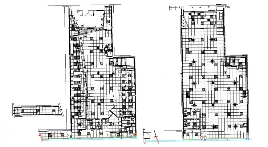 Bank agency building floor plan and cover plan cad drawing details dwg file