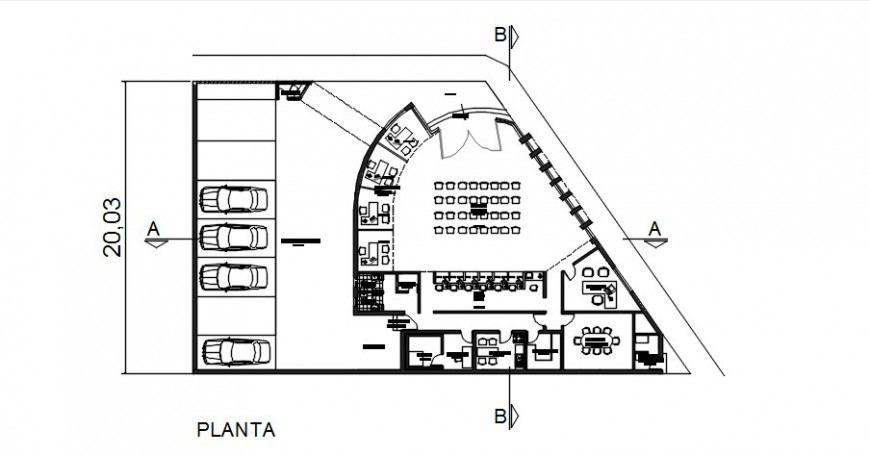 Bank agency distribution plan with furniture cad drawing details dwg file