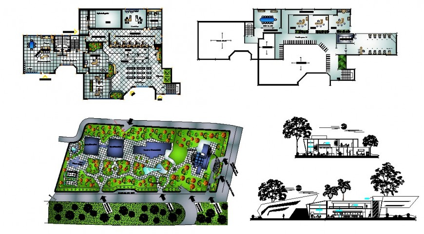 Bank agency office elevation, section, floor plan and auto-cad drawing details dwg file