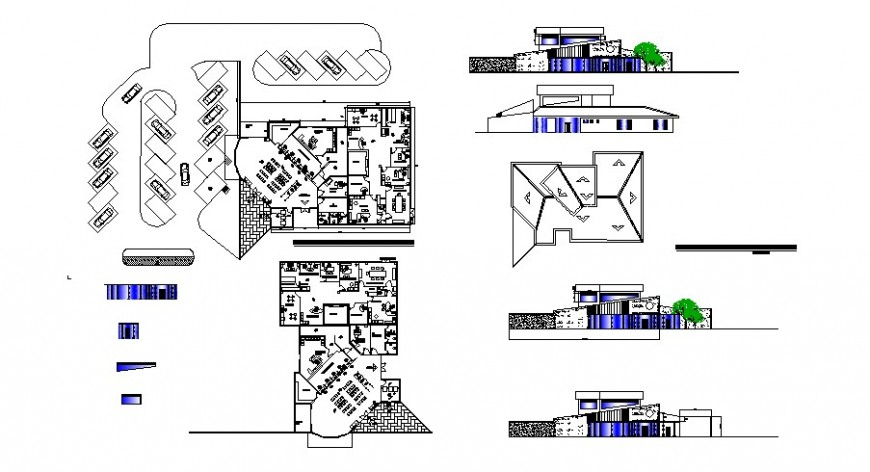 Bank branch elevation, section and floor plan cad drawing details dwg file