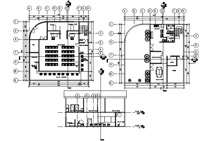 Bank branch section and layout plan cad drawing details dwg file