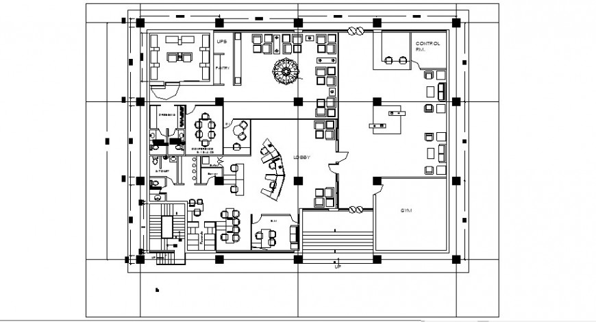 Bank ground floor plan in auto cad file