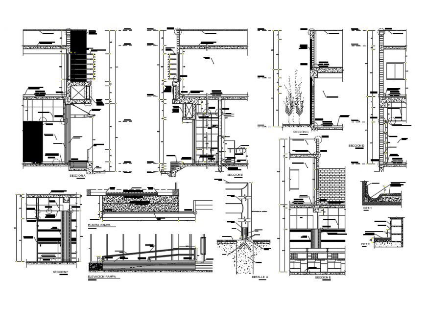 Bank office all sided constructive section with ramp elevation cad drawing details dwg file